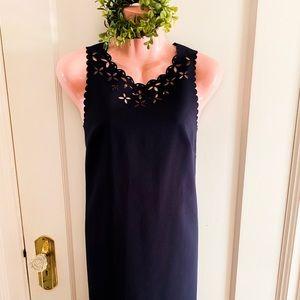 JCrew Navy Dress Laser Cut Scalloped Floral